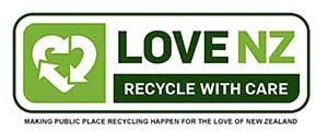 The Love NZ Recycle with Care sign for public recycling bins