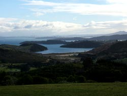 Copyright: Anna Spray. View of Auckland City from Waiheke Island, New Zealand