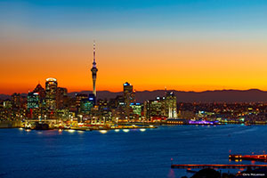Auckland City at dusk. Copyright: Chris McLennan