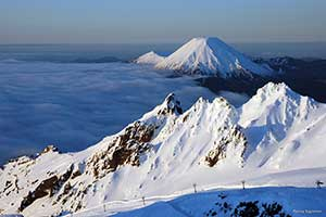 Snow covered peaks of Mt Ruapehu. Copyright: Penny Egleton