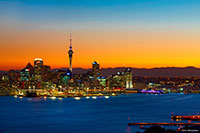 Auckland City, Auckland Port and Auckland Harbour at dusk. Copyright: Chris McLennan